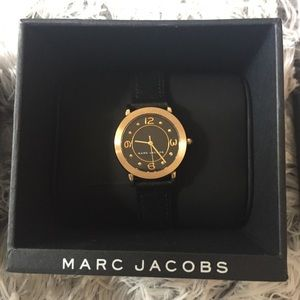 Marc Jacobs Women's Riley Black Leather Watch